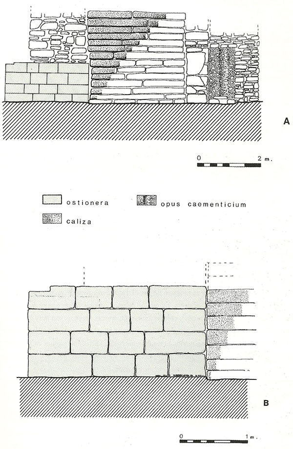 Ejemplo de técnicas constructivas romanas (Bendala y Núñez, 1999)