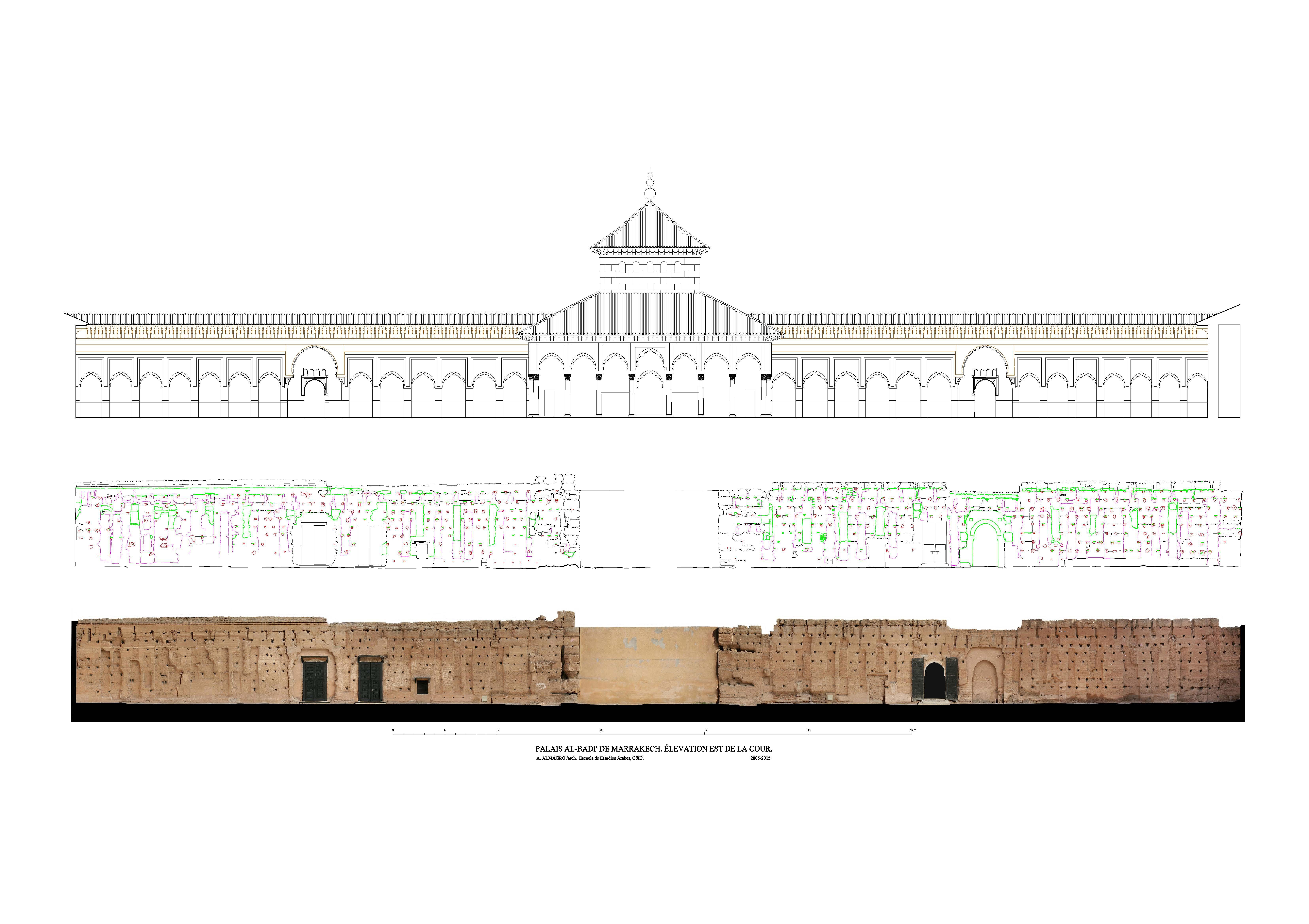Los alzados del patio del palacio al-Badi\' de Marrakech. ¿Diseño y ...
